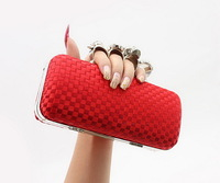 Discount 2013 NEW wholesale hard phone weave Fingers Rings evening bags Clutches shoulder Chain party woman crystal purse