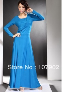 Pleated ultra long knitted cotten long maxi floor length gown skyblue dress,S-XXL Size,Skyblue Colore(China (Mainland))