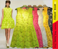 S-XL!! 2013 spring summer London fashion week Women Print Flower embroidery lace dress/Candy color,flower chiffon knee-length