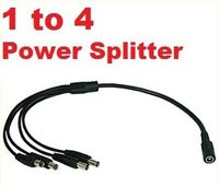 Free shipping CCTV Security Camera 2.1mm 1 to 4 Port Power Splitter Cable Pigtails 12V DC