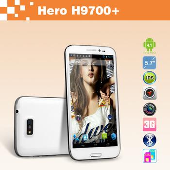 """Free shipping  5.7"""" Hero 9700+ MTK6589 Quad Core Cellphone 1GB RAM 16GB ROM WCDMA 3G Android 4.1 Dual SIM Dual Camera"""