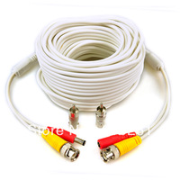 Free shipping  100' ft 30M Security Camera CCTV BNC Video Power Cable Wire Cord New WHITE