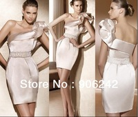 High Quality Champagne Satin One Shoulder Newest Bridal Short Skirt LR-S1048