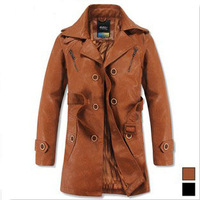 Length dress wind the man's coat the leather jackets winter warm motorcycle leather jacket  for men in 2013 FS004