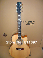 2013 new arrival + free shipping + 100% solidwood body custom 12 strings acoustic guitar with fishman EQ hardcase is optional