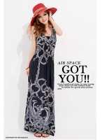 2013 New Style Summer Fashion Lady Long Bohemian Sleeveless Chiffon Dress Women Beach Flowing Dress Free Shipping