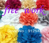 "4"" chiffon hollow  flower ,42pcs/lot, mixed 14colors, 3pcs/color,  free shipping"