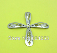 wholesale free shipping 250 pcs/Lot silver The front arc with cross hole Snap Clip 30mm DIY Craft Girl Hair Bow F24-1