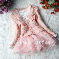 Free shipping Baby Girls 2pcs Set TUTU Bubble DressLace Appliqued Cardigan Top Coat +White Hot Diamond Floral  Bottom Dress1110