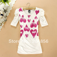 free shipping t-shirt women&#39;s new arrival o-neck short-sleeve slim heart pattern puff sleeve t-shirt