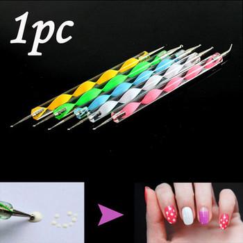 Free Shipping Brand New 1pc 2 Way Dotting Marbleizing Pen Nail Art Dot Paint Manicure Tool Hot A1596
