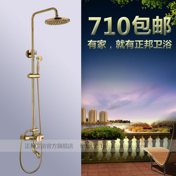 Vintage fashion american antique titanium gold assembly big shower lift nozzle copper set
