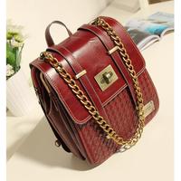 2013 women messenger bag mango preppy style mng bag vintage knitted shoulder messenger bag Wine red female bags