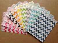 Party Supplier Party Using Polka Dot, Striped, Chevron Bags Disposable Oil-Proof Chevron Wrapping Paper Cookie Bags 100 pcs/lot
