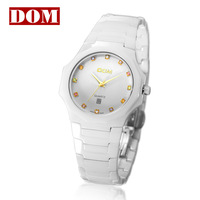 2013New style women's watch thermostability ceramic wristband T738 calendar white color with 12colorful rhinestones sapphire