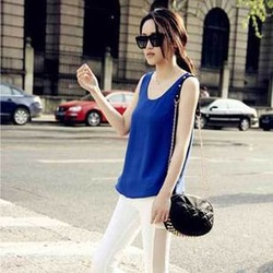 Summer women dress chiffon vest female basic wear ladies sleeveless o-neck tops plus size hot sale 0405(China (Mainland))