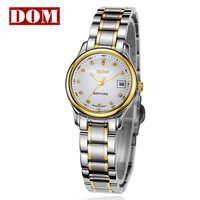 New style Ladies commercial watch DOM brand women's ultra-thin waterproof diamond steel strip fashion table lovers watch gold