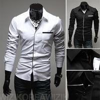 Free shipping 2013 new men's shirts, long seelves, fashion classical, slim fit. black white M-XXL 9006