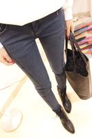 Free shipping Fashion brief 2013 spring assembly line denim pencil pants dark blue  hot sale