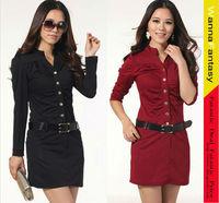 Hot Career OL Ladies Long Sleeve Tunic Pencil Mini Slim Casual Dress Free Belt Black and Red
