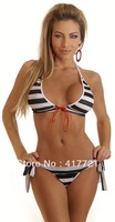 ML37027 Bikini Lingerie Free Shipping 2013 New Sexy Bathing Suits For Women Black and White Striped Swimwear