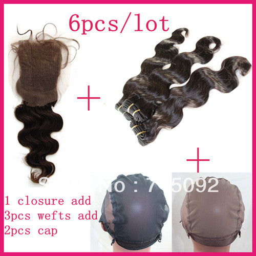 Cheap Malaysian Human Queen Hair With Remy Lace Frontal Top Closure Piece Add 3Wefts Add 2Wig Caps Body Wave Bundles Free Ship(China (Mainland))