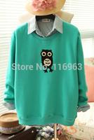 Free shipping Fashion winter women's 2014 sweet preppy style owl casual plus velvet sweatshirt female  hot sale  H002