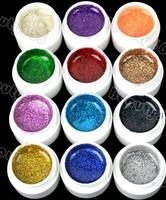 2012 New Arrival 12pcs Mix Color Shimmering Sining UV Gel Builder Nail GEL Glitter Glue 2#