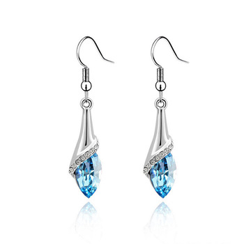 Silver long design drop earrings female crystal accessories earring girls gift
