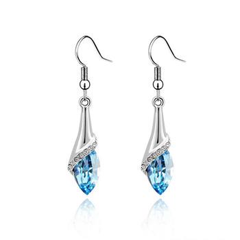 Silver long design drop earrings female crystal accessories earring girls gift