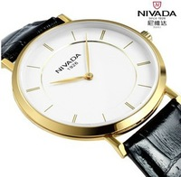 Swiss brand watch Nivada ultra-thin case real leather strap commercial 30 ATM waterproof vintage style mens quartz watch