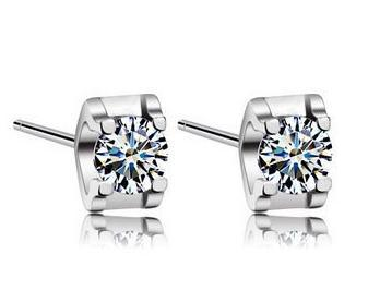 Free shipping 2013 new arrival unbelievable shiny zircon & 925 sterling silver & platinum plated ladies stud earrings jewelry