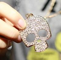 Promotion Fashion PUNK SKULL Necklace Full Crystal Big Skull Pendant Necklace Rock Skull Pendants necklaces