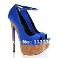 2013 new design women elegant peep toe blue seude high heel sandals