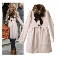 2012 autumn and winter women stand collar wool coat fur collar outerwear overcoat female