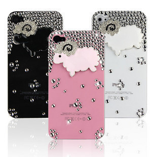 1PCS Bulk Luxury 3D Sheep Rhinestone Crystal Diamond Case For iPhone 4 4G 4S Bling Cover Accessory for iPhone 5 cell phone case