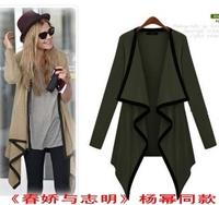 freeshipping 2013 Fashion soring irregular long-sleeve sweater outerwear female long design plus size cardigan sunscreen chiffon