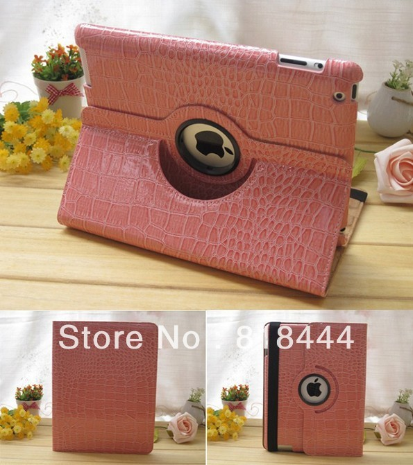 Dormancy cases crocodile grain to rotate 360 degrees protective holster leather texture(China (Mainland))