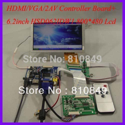 HDMI+VGA+2AV+Reversing LCD driver board+6.2inch 800*480 HSD062IDW1 Lcd panel(China (Mainland))
