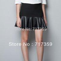 2014 Hotsale 1pc/lot , Free Shipping Cheap new women Fashion laminated mini leather skirt  ay651692