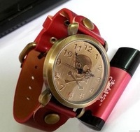 Free ship! pirate skull design 6 colors to select Retro watch Quartz Lady Wristwatches Leather Women Vintage Watches Sports