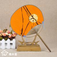 Double faced cotton cloth orange flower japanese style fan round fan gong shan