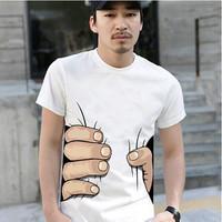 Hot sale men's T shirt creative big hand printed 3D vision T- shirt personality top tees 3 colors S-XL retail LQ063