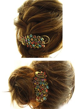 Fashion Womens Peacock Colorful Rhinestone Barrette Hairpin Hair Clip New A1155