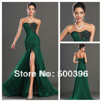 Sexy Sweetheart Mermaid Style Slit Emerald Green Chiffon Long Prom Evening Dress Formal Gown Open Back 2014 New Arrival