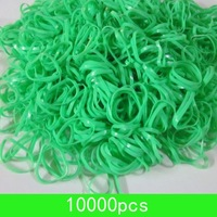 wholesale light green Hair Elastic Bands Fine Crystal Braiding Poly Rubber Bands 10000pcs/lot