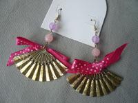 Pink bow japanese style small fan earrings