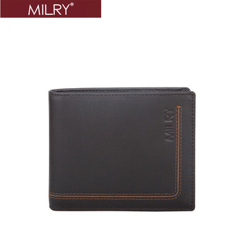 2013 fashion new Free Shipping Brand MILRY 100% Genuine Leather Wallet for men leather purse  Money Clip Black gift box MC0177