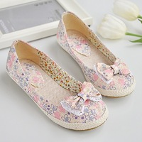 free shipping 2014 new arrival flats women's shoes canvas girls woman shoes summer spring autumn bowtie flowers print pink blue