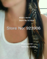 grizzly Brown  Black feather 3 tier hair extension clip in hair extensions hot sale 20pcs/lot